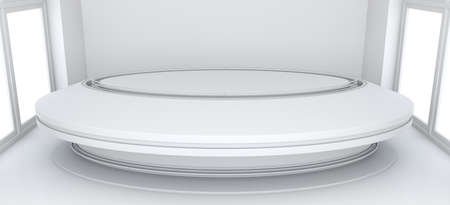showroom: Empty showroom with circle table for exhibit. White background. 3D rendering