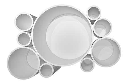 Illuminated circle white shelf for presentations. Isolated on white background. 3D illustration Stock Photo