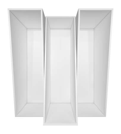 niche: Illuminated white shelf for presentations. Isolated on white background. 3D illustration Stock Photo