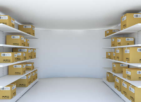 work crate: White room with steel shelves and cardboard boxes. 3D illustration