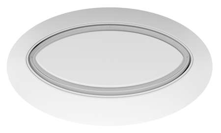 expansive: Empty white circle table. Top view. White background. 3D rendering