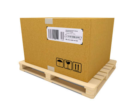 despatch: Cardboard container with wooden pallet on white background. 3D rendering