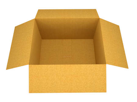 open box: Cardboard box. Top view. Open box. Isolated on a white background. 3D rendering