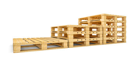 Stair of new wooden pallets isolated on white. 3D rendering