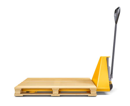sacktruck: Pallet jack and wooden pallet on white background. 3D rendering Stock Photo