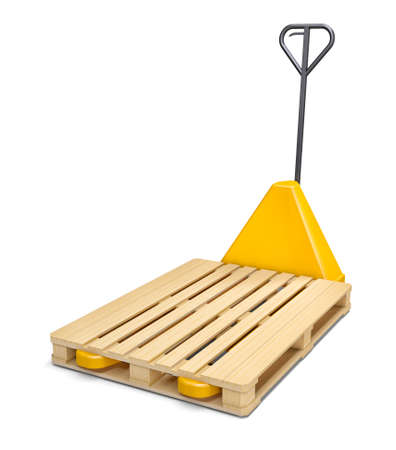 sacktruck: Pallet truck with wooden pallet isolated on white. 3D Illustration