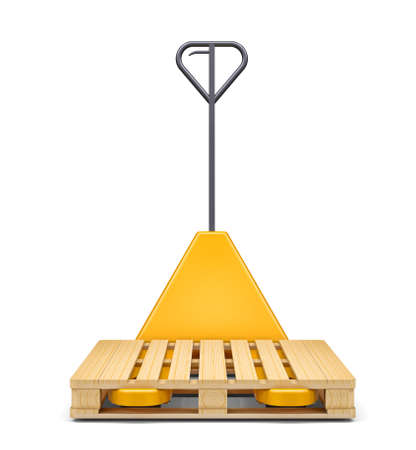 sacktruck: Hydraulic hand pallet truck with pallet isolated on white background. 3D rendering Stock Photo