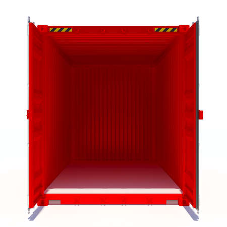 Opened red cargo container. Open Doors. Isolated on white. 3D illustration Stock Photo