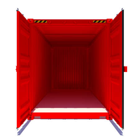 compartment: Open red shipping container. Front view. 3D rendering