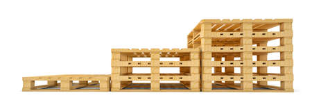 Stair of wooden euro pallets isolated on white background. 3D rendering Stock Photo