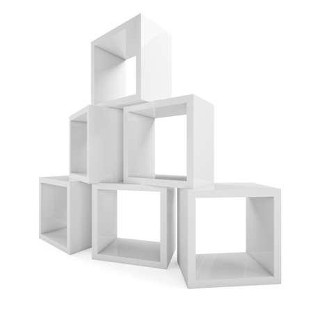 shelving: Modular shelving. Showcase store. Isolated on white. 3D rendering