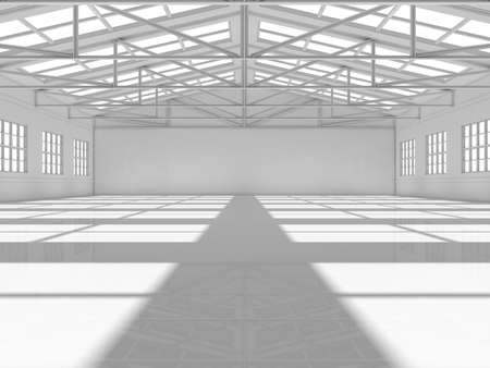 empty warehouse: Clean white empty warehouse with windows. 3D rendering