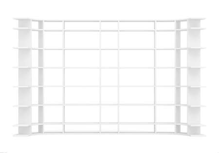 fixtures: Empty white long supermarket shelf. Front view. Isolated on white 3D rendering