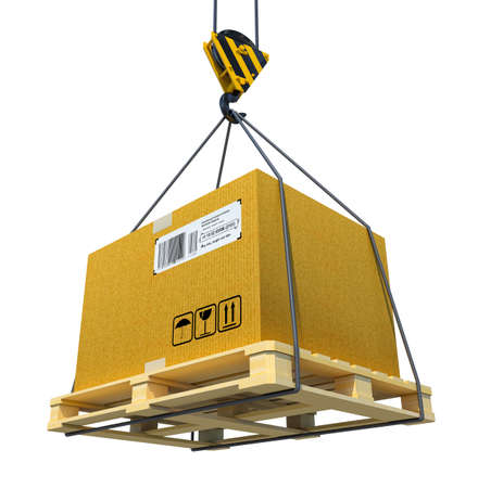 fragile industry: Pallet with cardboard lifted by crane. 3d illustration