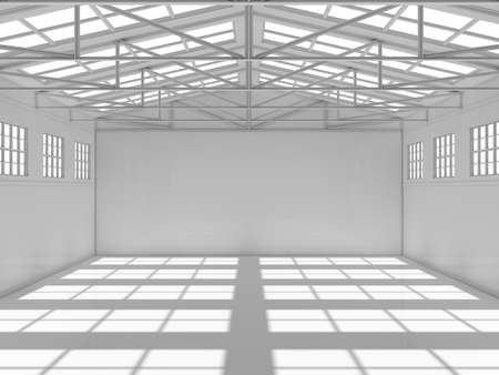 storehouse: Large modern storehouse with windows. 3D illustration