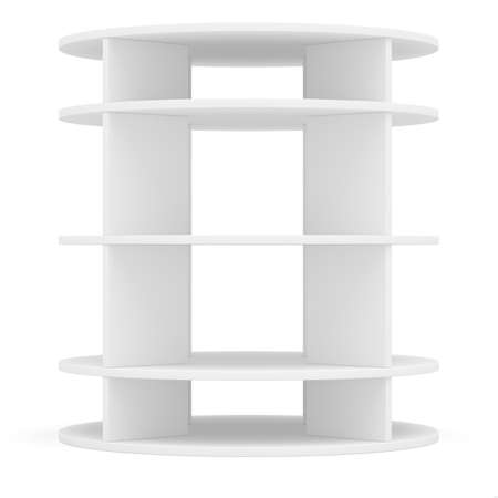 expansive: Empty round shelf for exhibition. Templated for design. 3D illustration