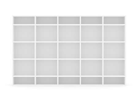 fixtures: Very long supermarket shelf. Isolated on white. 3D rendering