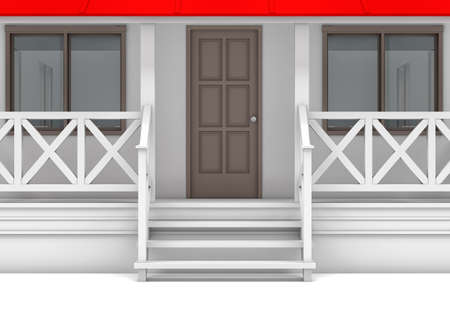front porch: Front view. Close-up house with porch, door and windows. 3D illustration