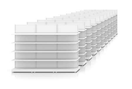 shelve: Clean white racks shelves for products showing, isolated background. 3D illustration