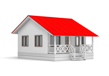 red roof: A small house with red roof on white background. 3D rendering