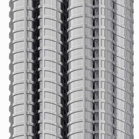 Metallverstärkungen, Nahaufnahme, isoliert auf weiß. 3D-Rendering Standard-Bild