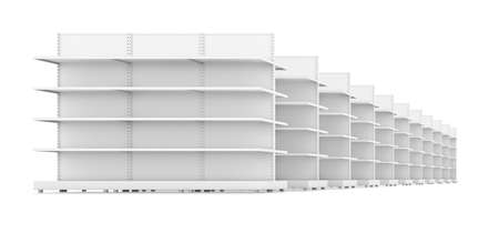 fixtures: Row of supermarket shelves. 3D rendering. Isolated