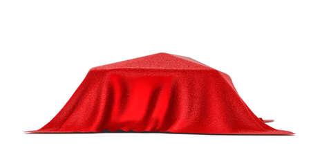 velvet ribbon: Car covered with red velvet. Isolated on white. 3D rendering Stock Photo