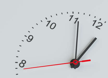 midnight time: Close-up clock face. Isolated Stock Photo