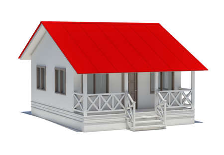 red roof: A small house with red roof Stock Photo