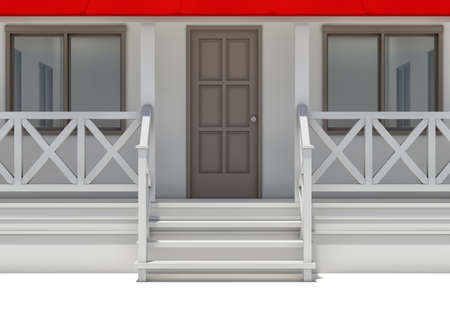 front porch: Close-up house with porch, door and windows