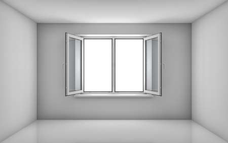 white window: White room and open window