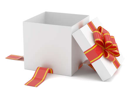 red gift box: Opened gift box with red bow Stock Photo