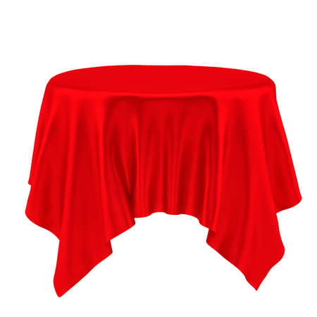 red cloth: Red table cloth