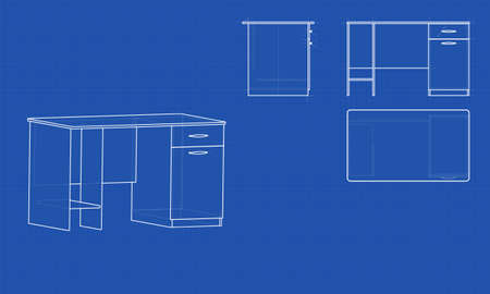 Blueprint Office Table Blue Background With Grid Vector