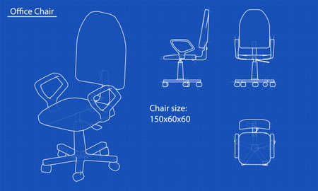 White chair blueprint. Blue background with grid. Vector Фото со стока - 68841263