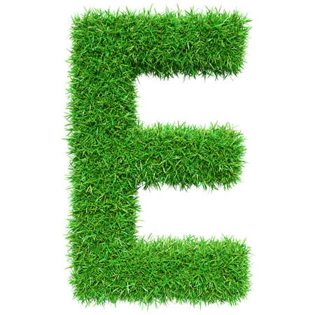 e white: Green Grass Letter E. Isolated On White Background. Font For Your Design. 3D Illustration