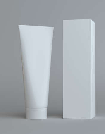 toothpaste tube: White cream bottle and tall white paper box for cosmetic packaging mock up. Gray background. 3D illustration Stock Photo