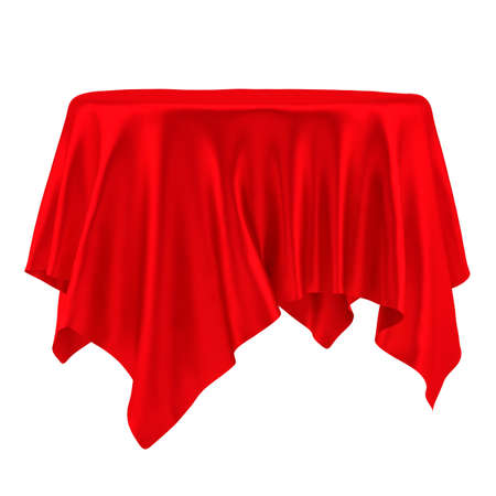 Empty round red table cloth. Isolated on White Background. 3D illustration Stock Photo