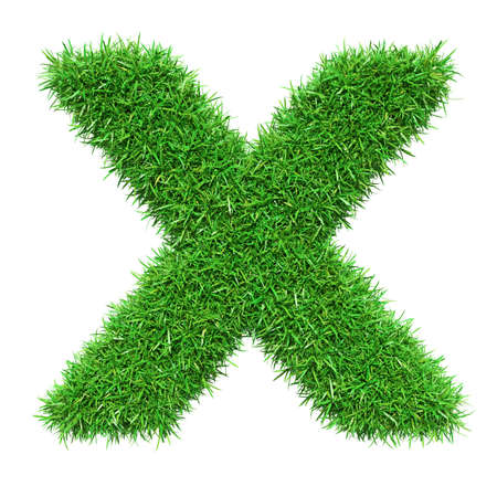 Green Grass Letter X. Isolated On White Background. Font For Your Design. 3D Illustration Stock Photo