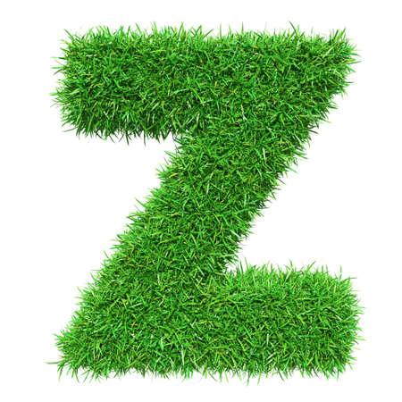 Green Grass Letter Z. Isolated On White Background. Font For Your Design. 3D Illustration