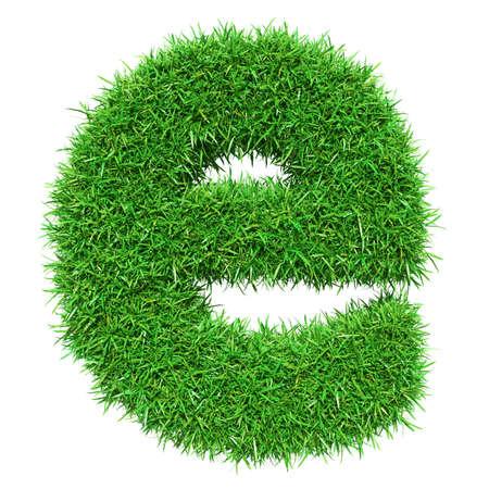 Green Grass Letter E. Isolated On White Background. Font For Your Design. 3D Illustration
