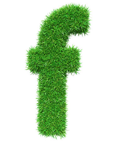 Green Grass Letter F. Isolated On White Background. Font For Your Design. 3D Illustration Stock Photo