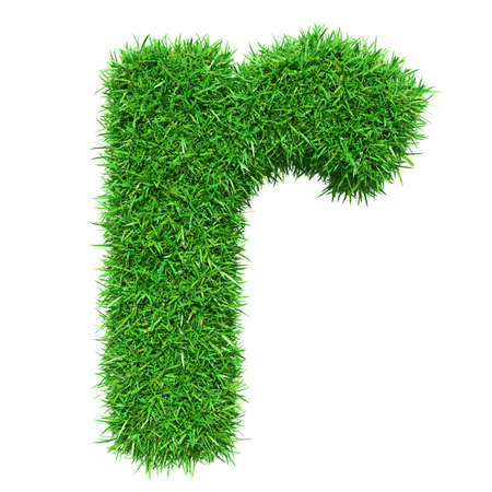 Green Grass Letter R. Isolated On White Background. Font For Your Design. 3D Illustration Stock Photo