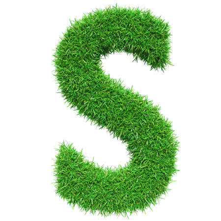 greenery: Green Grass Letter S. Isolated On White Background. Font For Your Design. 3D Illustration Stock Photo