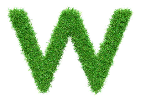 Green Grass Letter W. Isolated On White Background. Font For Your Design. 3D Illustration Stock Photo