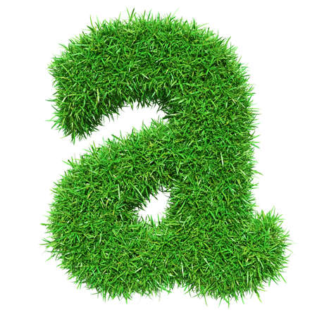 Green Grass Letter A. Isolated On White Background. Font For Your Design. 3D Illustration