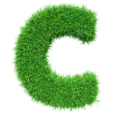 Green Grass Letter C. Isolated On White Background. Font For Your Design. 3D Illustration Stock Photo