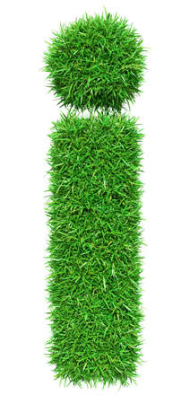 Green Grass Letter I. Isolated On White Background. Font For Your Design. 3D Illustration
