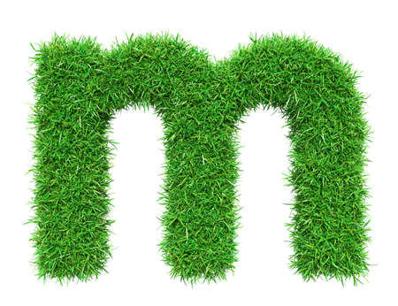 Green Grass Letter M. Isolated On White Background. Font For Your Design. 3D Illustration Stock Photo