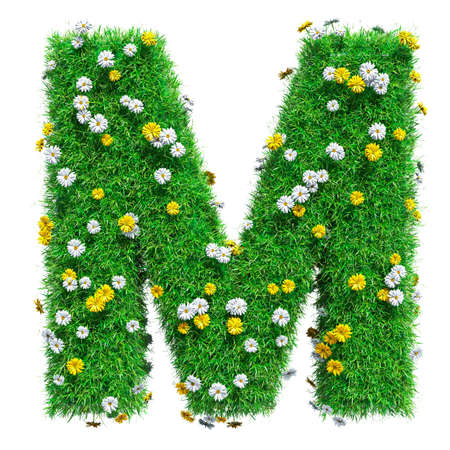green flowers: Letter M Of Green Grass And Flowers